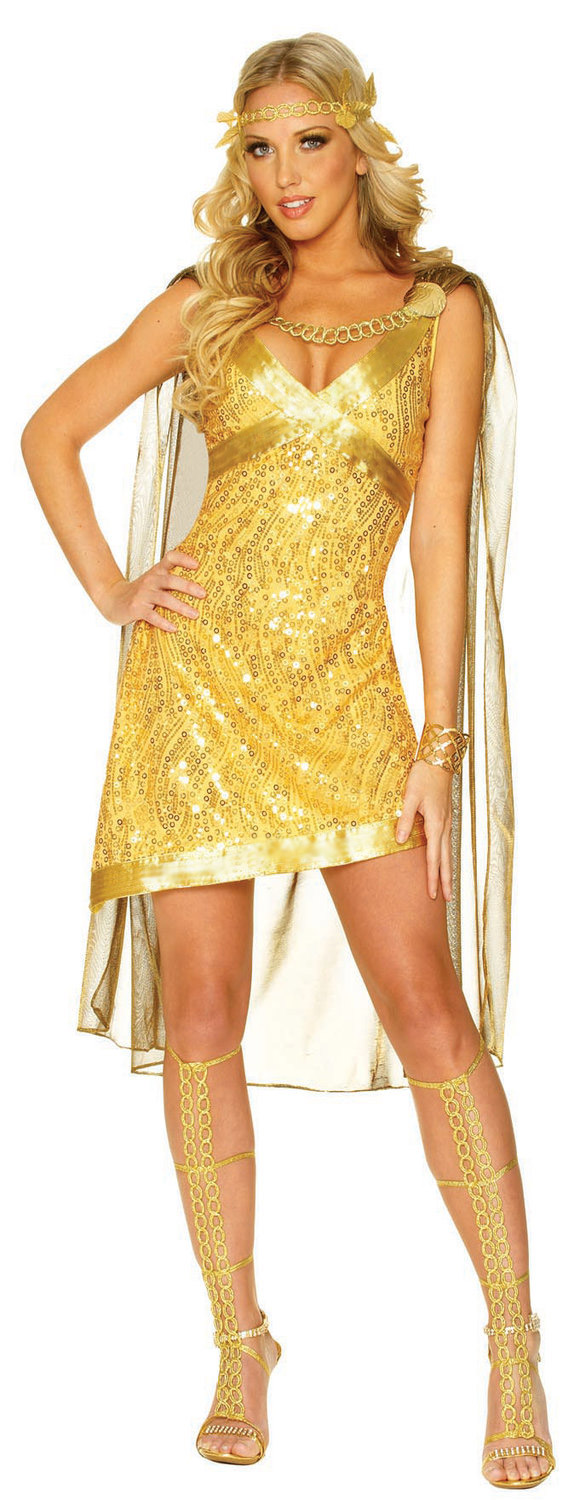 J54 Ladies Gold Toga Cleopatra Egyptian Goddess Fancy Dress Costume & Headband | eBay