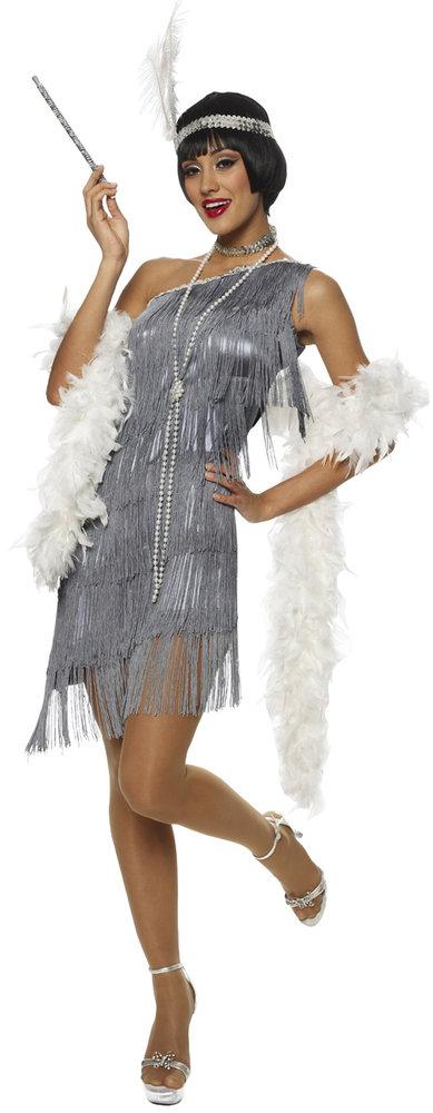 F87 1920s Charleston Grey Flapper Fancy Dress Costume ...
