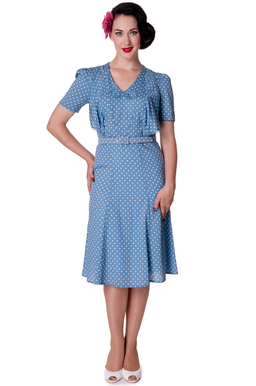 RKP48 Hell Bunny Jennifer Polka Dots Tea Dress Rockabilly Pinup ...
