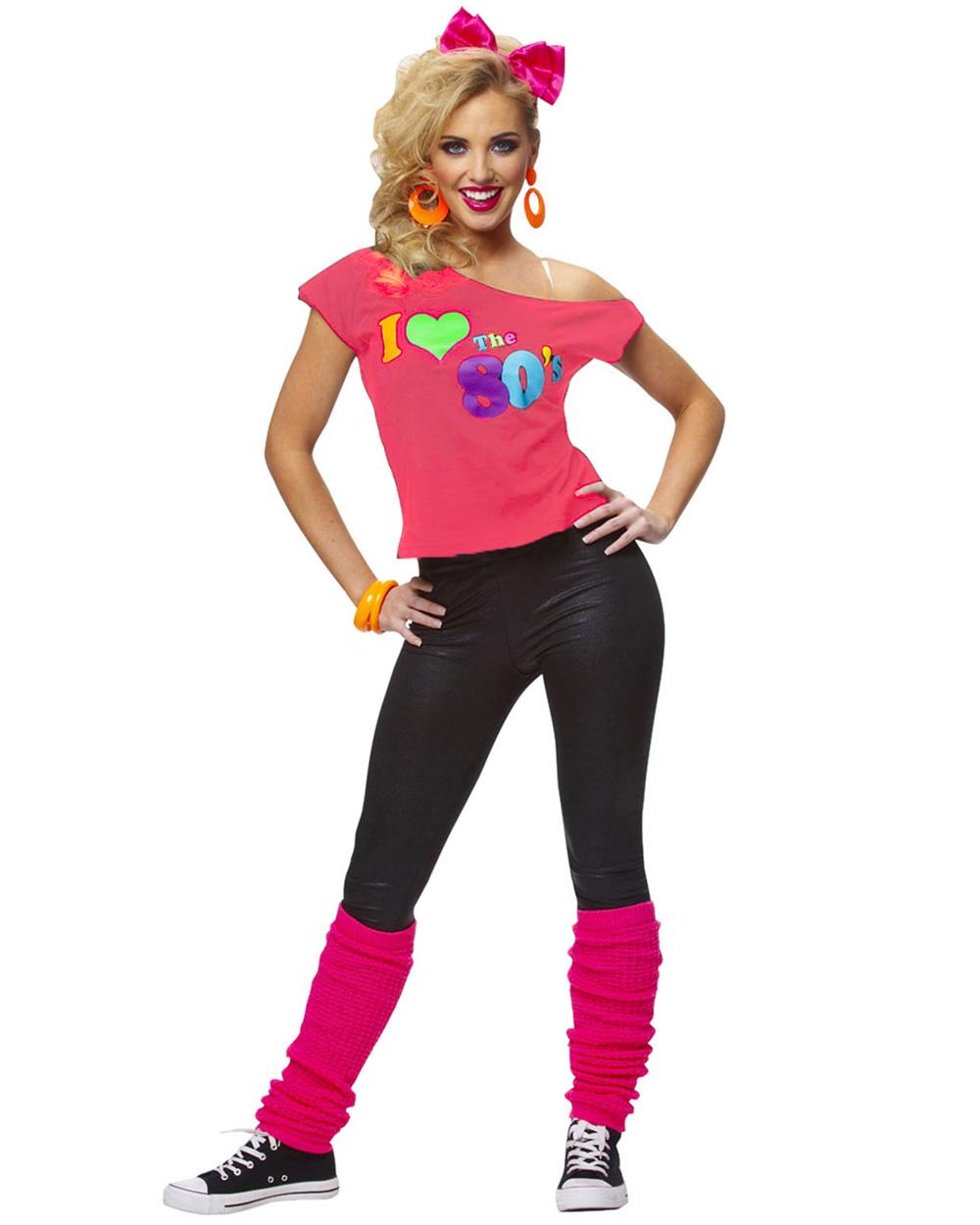 K73 I Love The 80's T-shirt Costume Ladies 1980s 80s Fancy