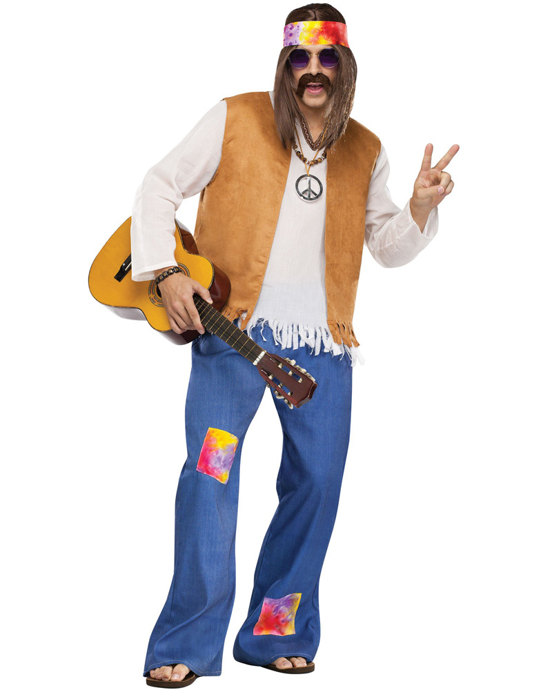 Mens 6039;s 7039;s Disco Peace Groovy Halloween Fancy Dress Costume |