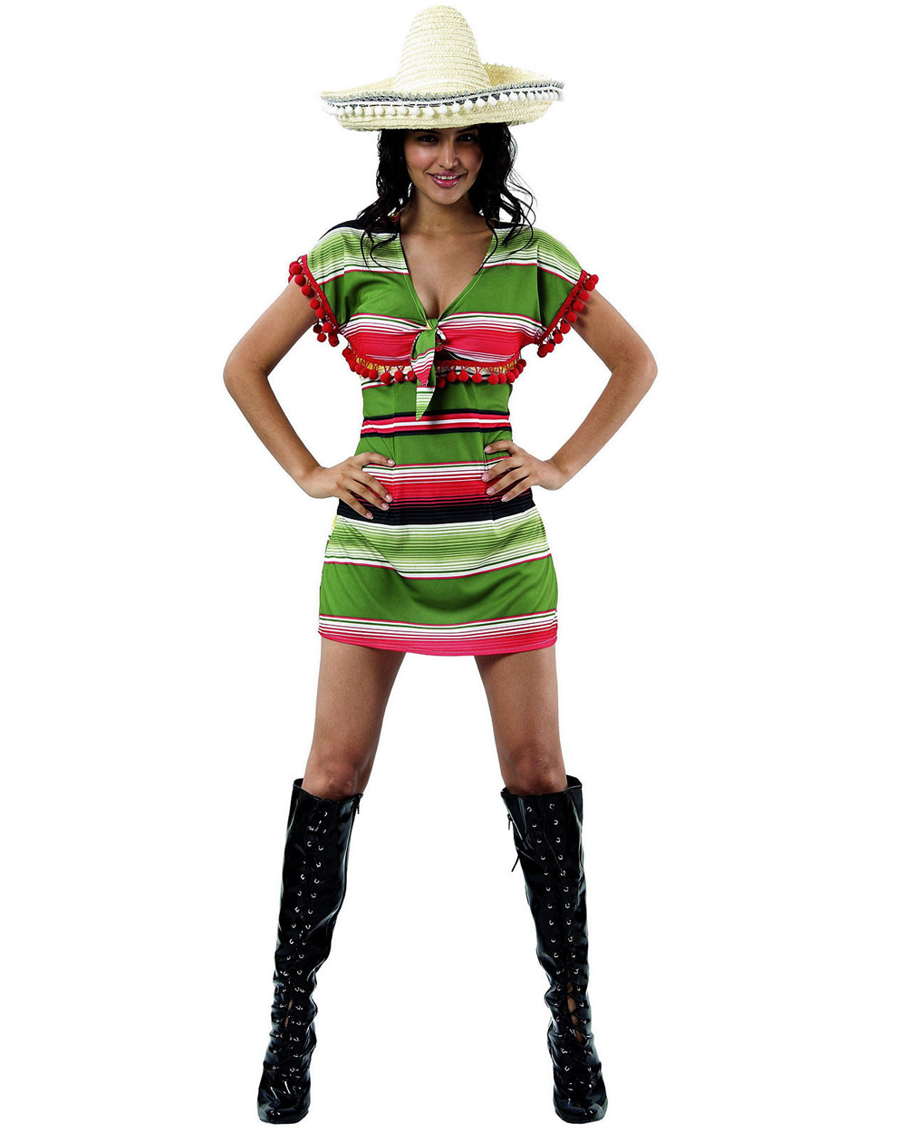 Csw Mexican Poncho Green Yellow Womens Costume Fancy