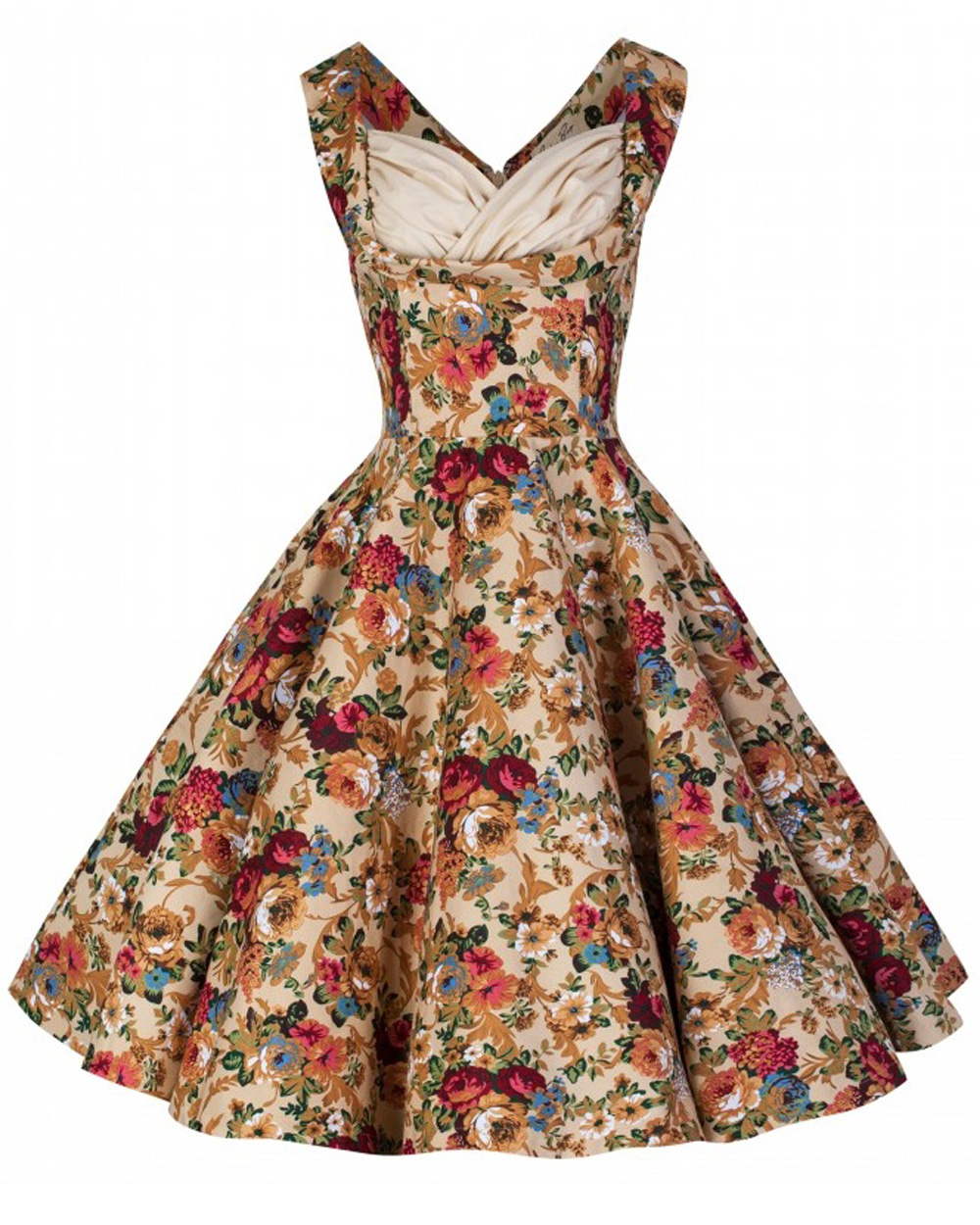 Rkb1 Lindy Bop Ophelia Beige 50s Rockabilly Vintage Floral Swing Dress Plus Size Ebay