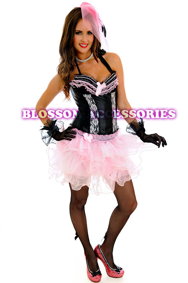 Home Womens Moulin Rouge Pink Burlesque Dancer Costume
