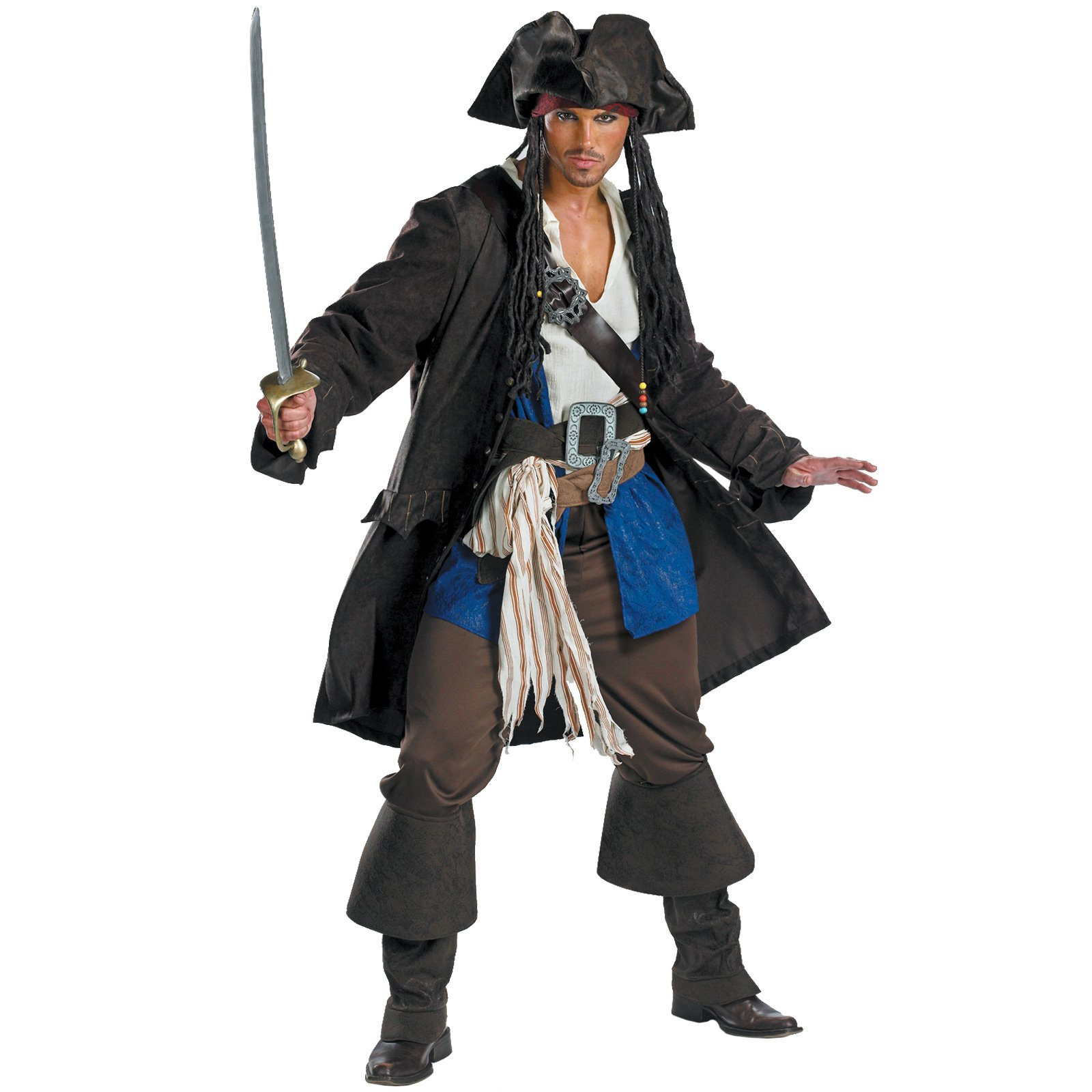 Pirates Captain Jack Sparrow Prestige Mens Fancy Adult Costume
