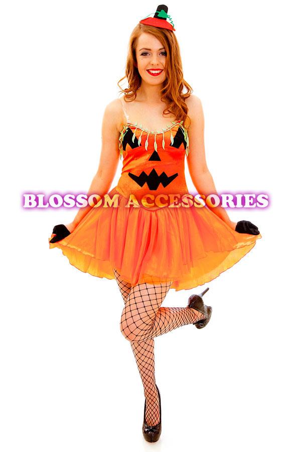 G55 Ladies Pumpkin Princess Fancy Dress Party Halloween Costume ...