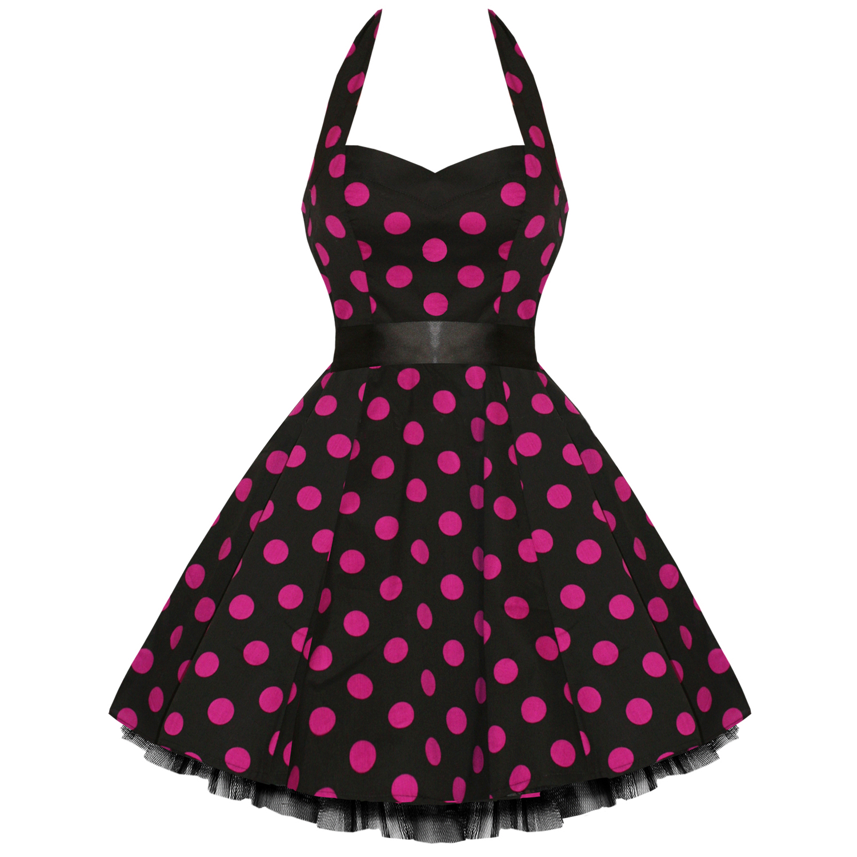 Hearts roses polka dots rockabilly dress pin up vintage 50s prom swing