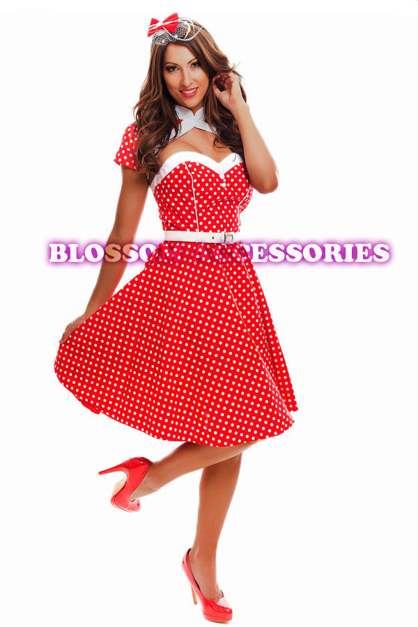 RK74 Rockabilly Polka Dot Swing Dress Black Red 50s Retro Pin Up ...