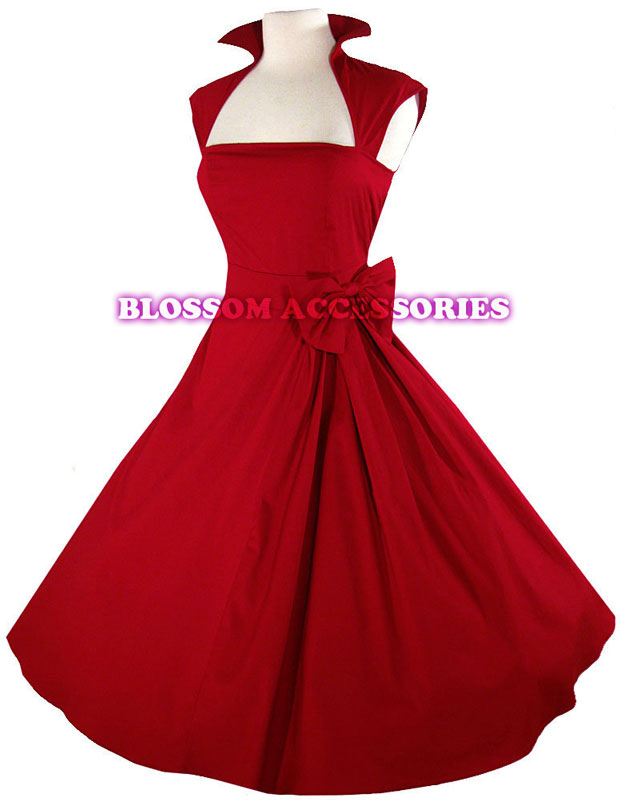 Rk40 rockabilly vintage swing work evening dress 40s 50s for Wedding dresses pin up style