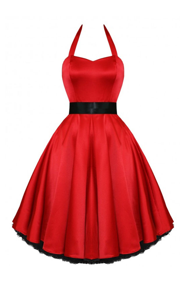 RKH9 Hearts & Roses Satin Rockabilly Dress Pin Up Vintage 50s Party Prom Swing