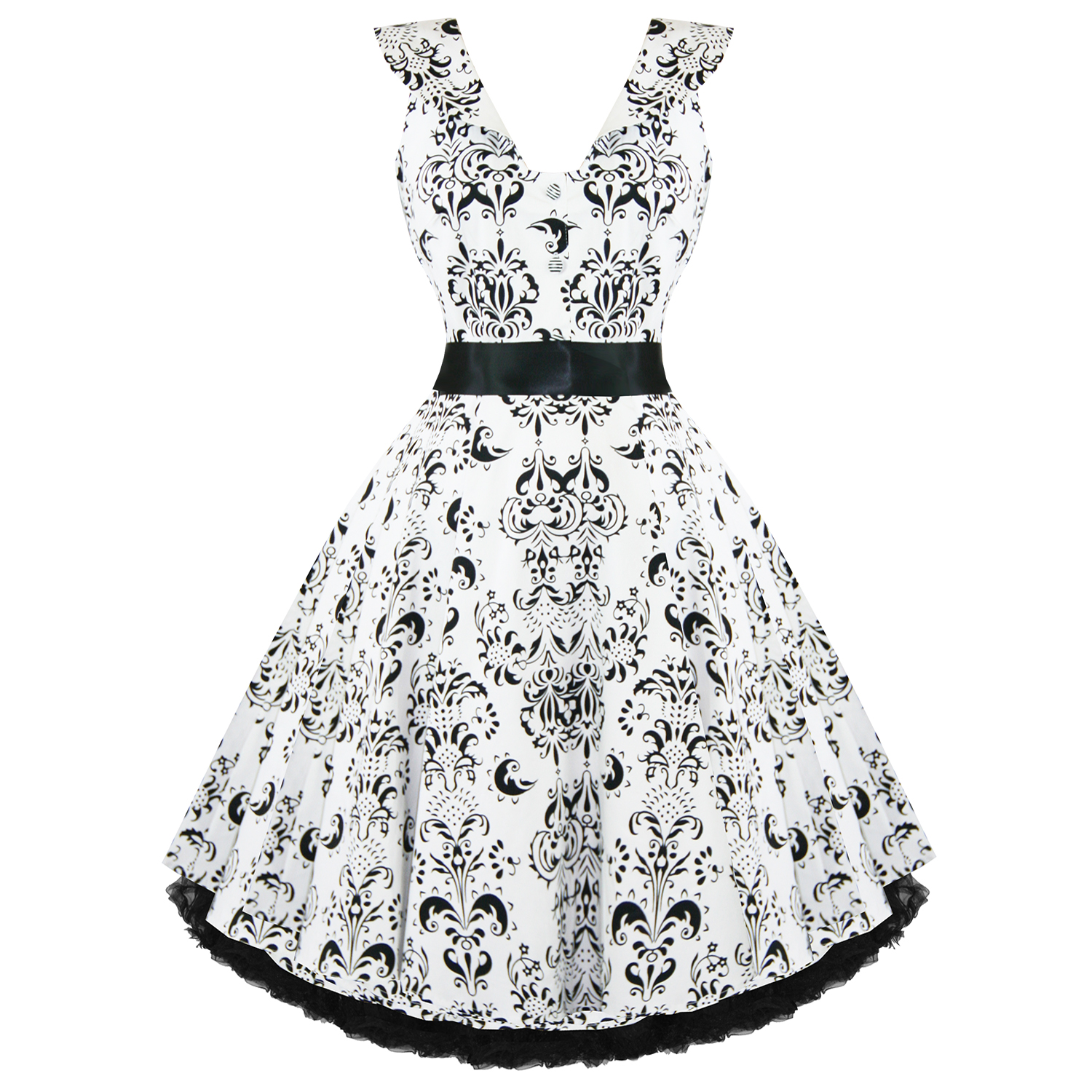 RKH11-Hearts-amp-Roses-Damask-White-Sleeveless-Rockabilly-Dress-50-039-s-Vintage-Swing