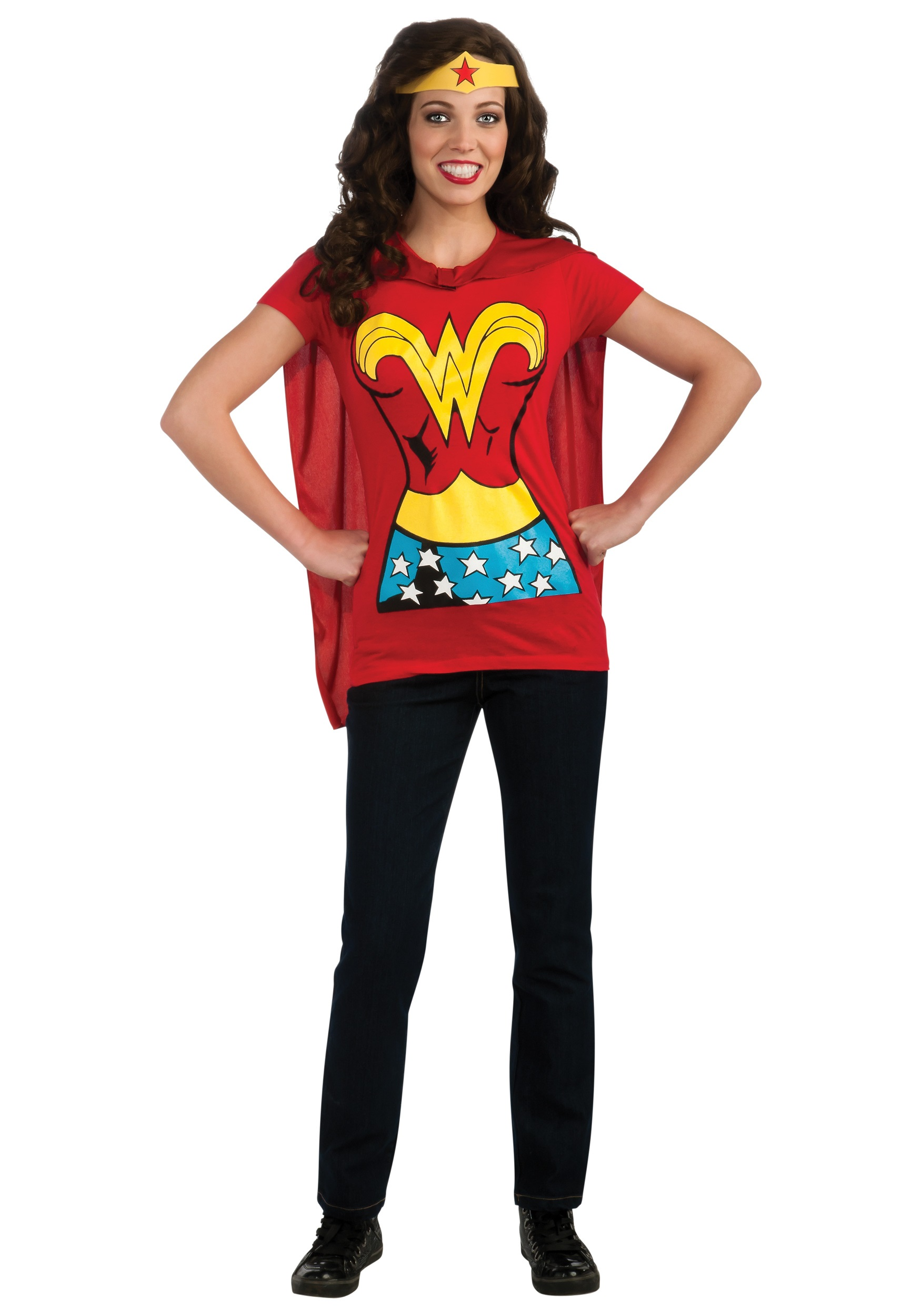 Rubies DC Comics Wonder Woman T-Shirt With Cape And Headband, Red, Large Costume $ 17 99 Prime. out of 5 stars DC Comics. Women's Dc Comics Wonder Woman Glitter Juniors V-Neck Tee. from $ 19 99 Prime. out of 5 stars Bioworld. Wonder Woman Gold Foil Striped Sleeves Red Juniors T-Shirt Tee.