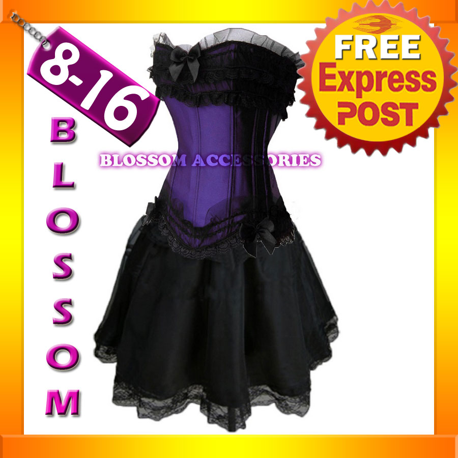 870-7-Purple-Gothic-Lollita-Corset-Skirt-8-10-12-14